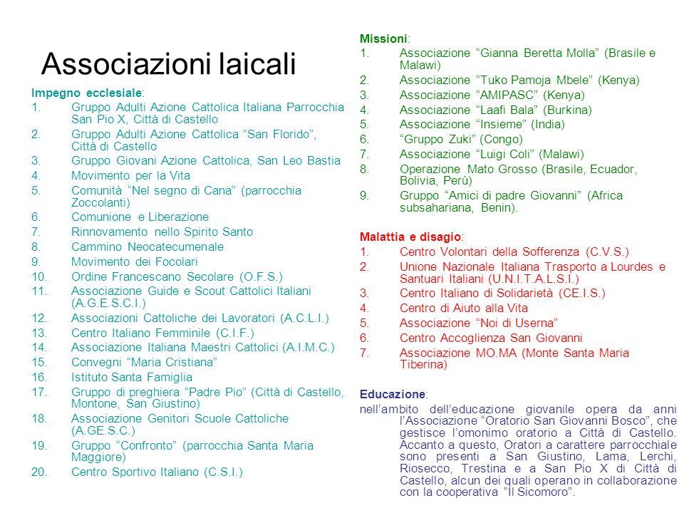 Associazioni laicali Impegno ecclesiale: 1.Gruppo Adulti Azione Cattolica Italiana Parrocchia San Pio X, Città di Castello 2.Gruppo Adulti Azione Catt