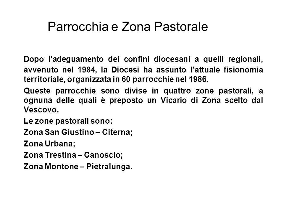 Parrocchia e Zona Pastorale Dopo ladeguamento dei confini diocesani a quelli regionali, avvenuto nel 1984, la Diocesi ha assunto lattuale fisionomia territoriale, organizzata in 60 parrocchie nel 1986.