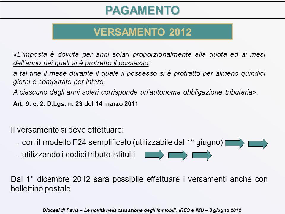 Diocesi di Pavia – Le novità nella tassazione degli immobili: IRES e IMU – 8 giugno 2012 PAGAMENTO VERSAMENTO 2012 Il versamento si deve effettuare: -