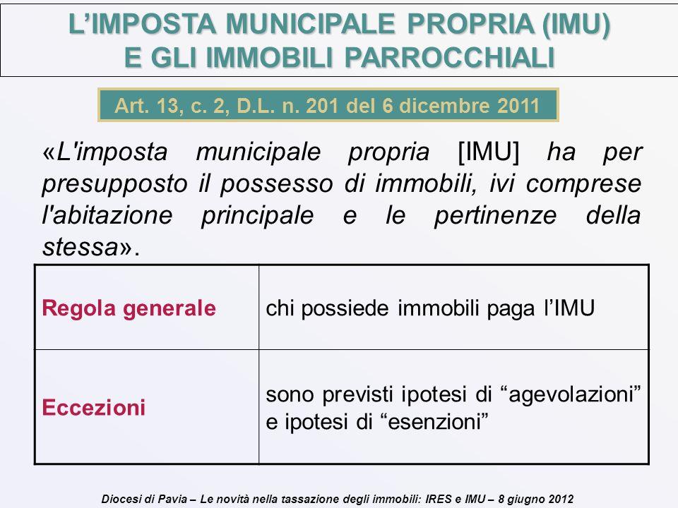 Diocesi di Pavia – Le novità nella tassazione degli immobili: IRES e IMU – 8 giugno 2012 Art. 13, c. 2, D.L. n. 201 del 6 dicembre 2011 «L'imposta mun