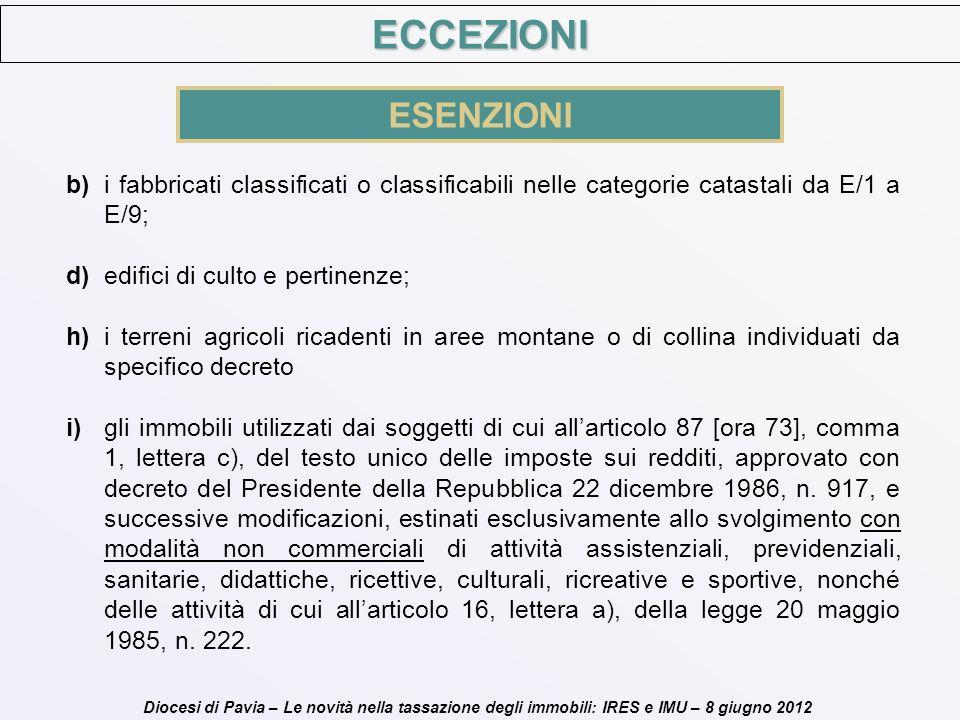 Diocesi di Pavia – Le novità nella tassazione degli immobili: IRES e IMU – 8 giugno 2012 b)i fabbricati classificati o classificabili nelle categorie