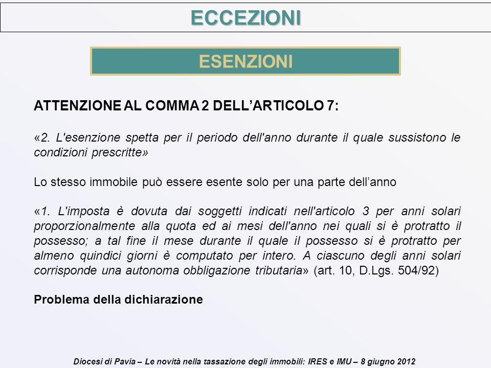 Diocesi di Pavia – Le novità nella tassazione degli immobili: IRES e IMU – 8 giugno 2012 ATTENZIONE AL COMMA 2 DELLARTICOLO 7: «2. L'esenzione spetta