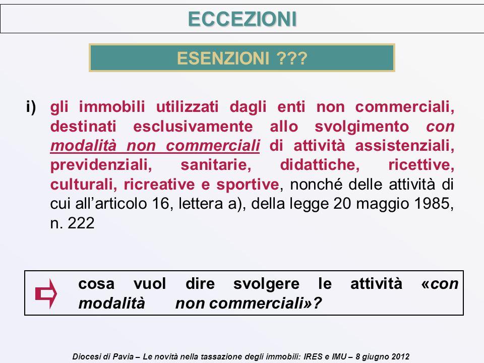 Diocesi di Pavia – Le novità nella tassazione degli immobili: IRES e IMU – 8 giugno 2012 i)gli immobili utilizzati dagli enti non commerciali, destina