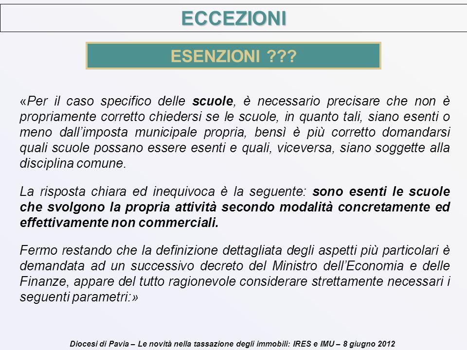 Diocesi di Pavia – Le novità nella tassazione degli immobili: IRES e IMU – 8 giugno 2012 ECCEZIONI ESENZIONI ??? «Per il caso specifico delle scuole,
