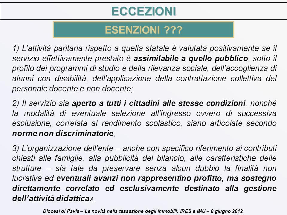 Diocesi di Pavia – Le novità nella tassazione degli immobili: IRES e IMU – 8 giugno 2012 ECCEZIONI ESENZIONI ??? 1) Lattività paritaria rispetto a que