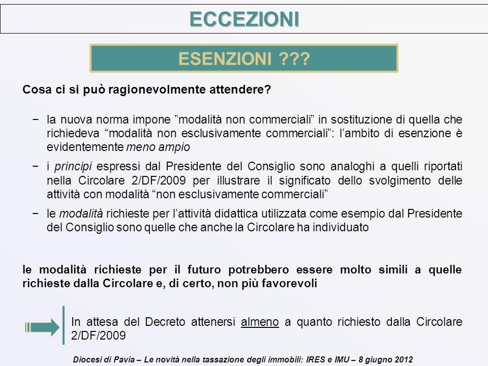 Diocesi di Pavia – Le novità nella tassazione degli immobili: IRES e IMU – 8 giugno 2012 Cosa ci si può ragionevolmente attendere? la nuova norma impo