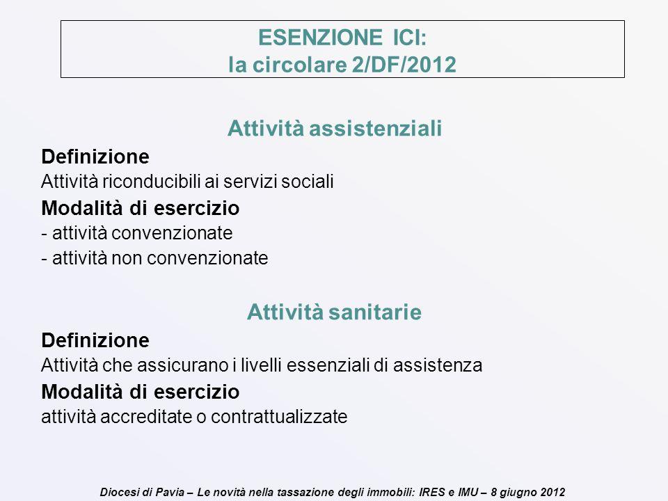 Diocesi di Pavia – Le novità nella tassazione degli immobili: IRES e IMU – 8 giugno 2012 ESENZIONE ICI: la circolare 2/DF/2012 Attività assistenziali