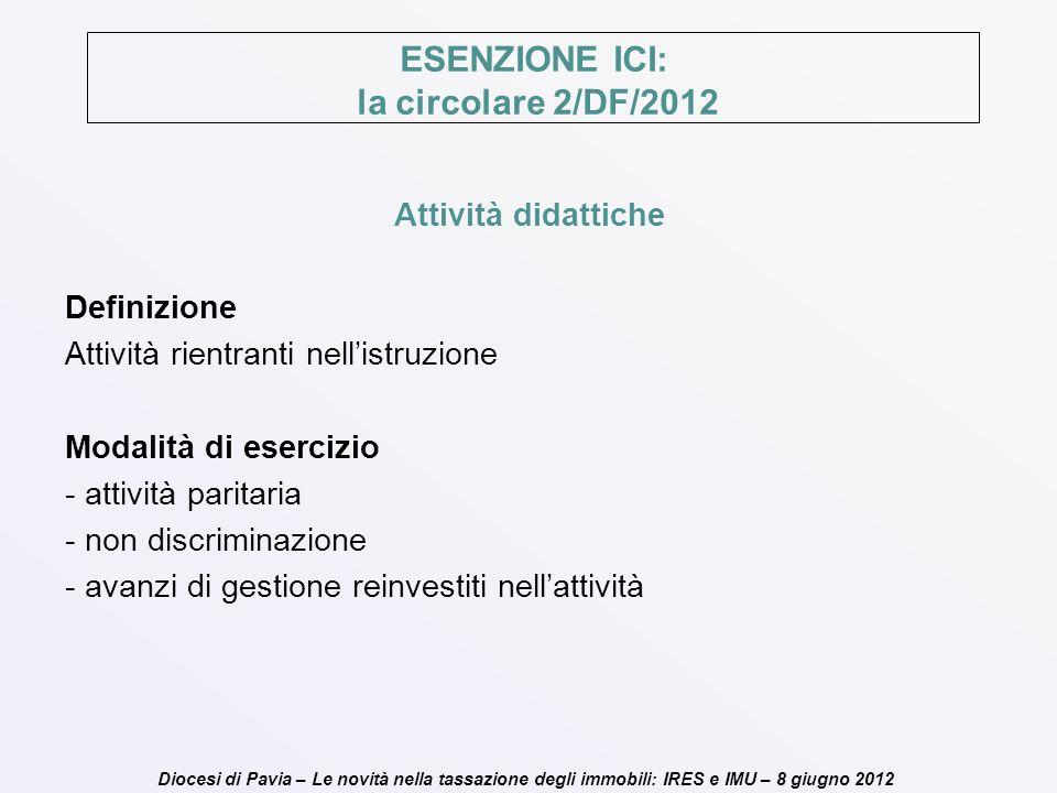 Diocesi di Pavia – Le novità nella tassazione degli immobili: IRES e IMU – 8 giugno 2012 ESENZIONE ICI: la circolare 2/DF/2012 Attività didattiche Def
