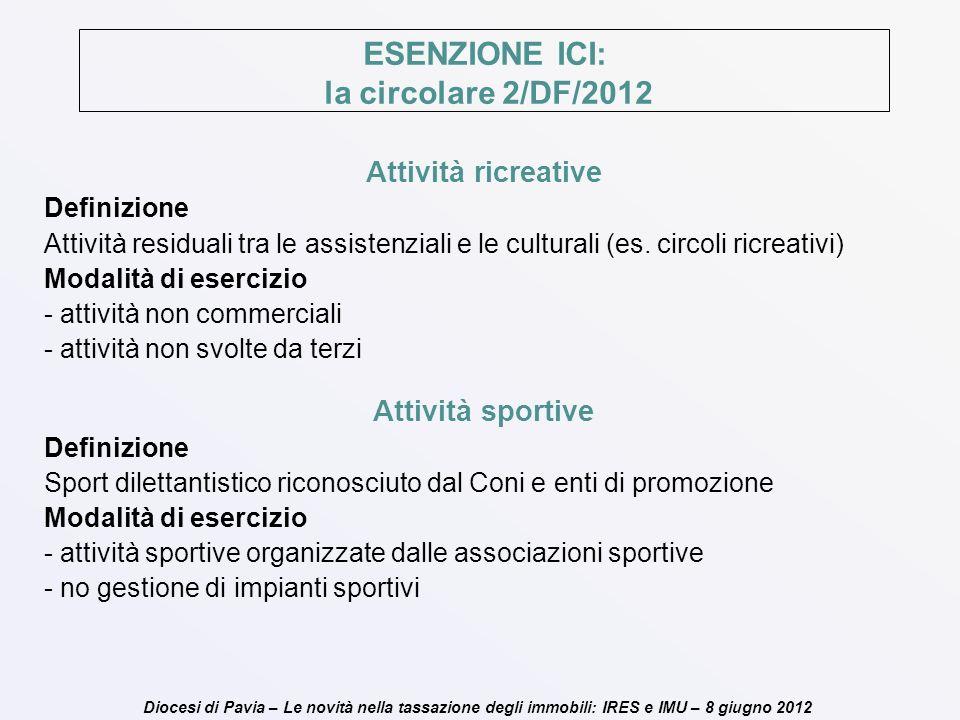 Diocesi di Pavia – Le novità nella tassazione degli immobili: IRES e IMU – 8 giugno 2012 ESENZIONE ICI: la circolare 2/DF/2012 Attività ricreative Def