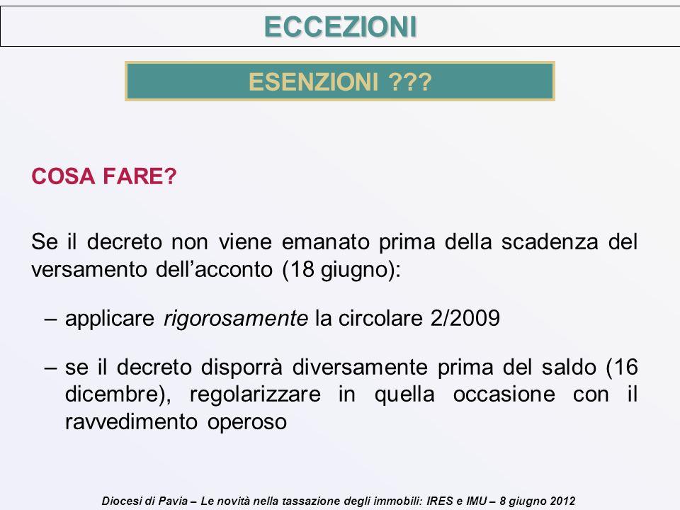 Diocesi di Pavia – Le novità nella tassazione degli immobili: IRES e IMU – 8 giugno 2012 COSA FARE? Se il decreto non viene emanato prima della scaden