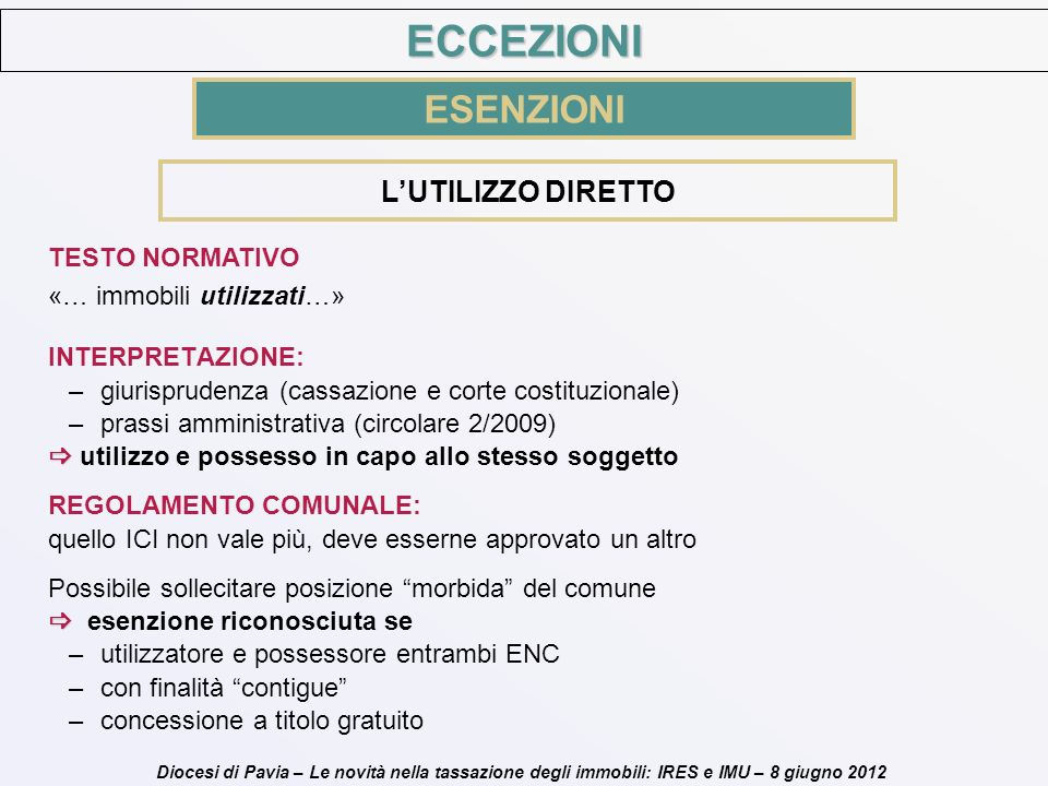 Diocesi di Pavia – Le novità nella tassazione degli immobili: IRES e IMU – 8 giugno 2012 LUTILIZZO DIRETTO INTERPRETAZIONE: –giurisprudenza (cassazion