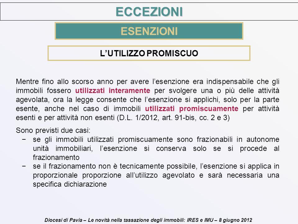 Diocesi di Pavia – Le novità nella tassazione degli immobili: IRES e IMU – 8 giugno 2012 LUTILIZZO PROMISCUO Mentre fino allo scorso anno per avere le