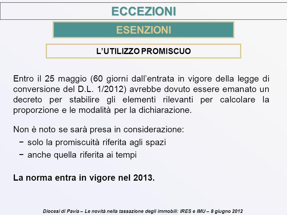 Diocesi di Pavia – Le novità nella tassazione degli immobili: IRES e IMU – 8 giugno 2012 Entro il 25 maggio (60 giorni dallentrata in vigore della leg