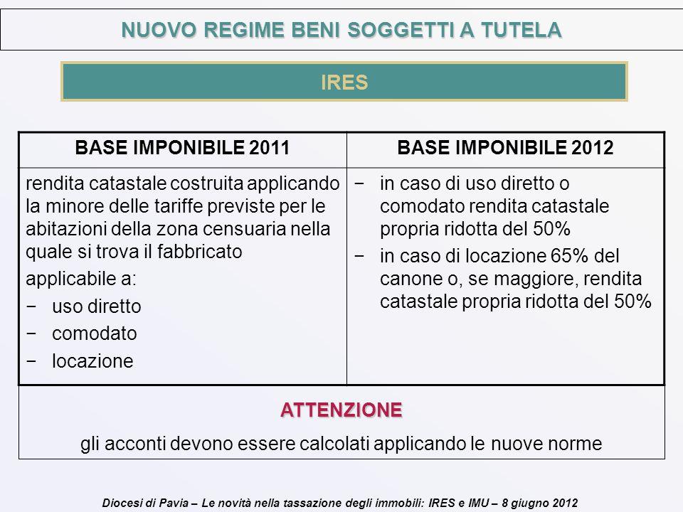 Diocesi di Pavia – Le novità nella tassazione degli immobili: IRES e IMU – 8 giugno 2012 IRES NUOVO REGIME BENI SOGGETTI A TUTELA BASE IMPONIBILE 2011