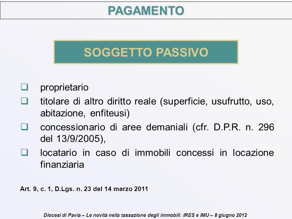 Diocesi di Pavia – Le novità nella tassazione degli immobili: IRES e IMU – 8 giugno 2012 PAGAMENTO SOGGETTO PASSIVO proprietario titolare di altro dir