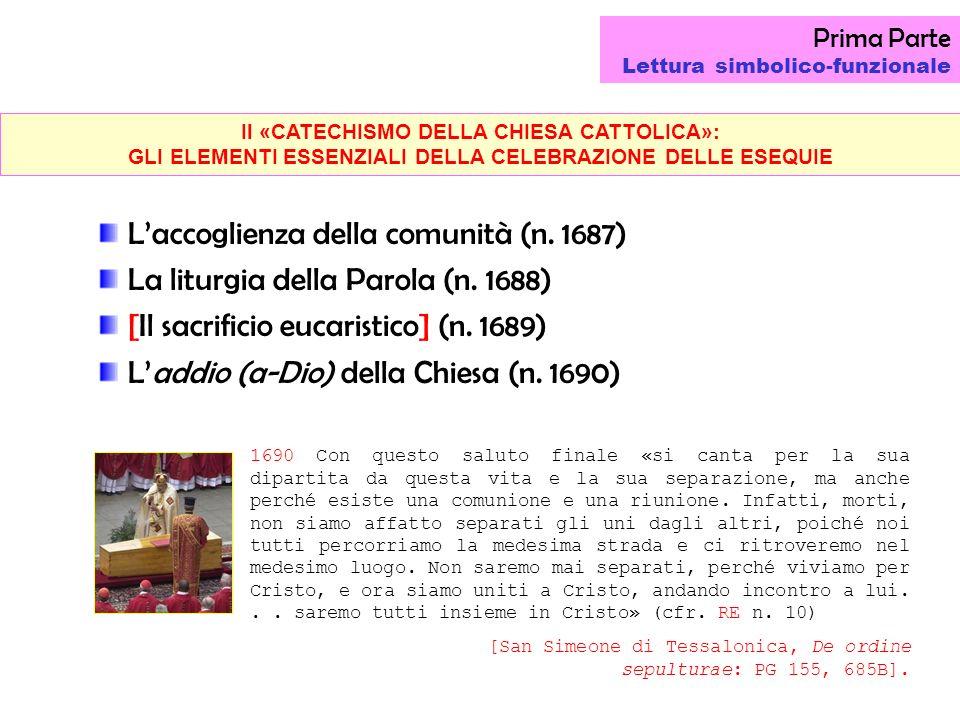 Il «CATECHISMO DELLA CHIESA CATTOLICA»: GLI ELEMENTI ESSENZIALI DELLA CELEBRAZIONE DELLE ESEQUIE Prima Parte Lettura simbolico-funzionale Laccoglienza della comunità (n.
