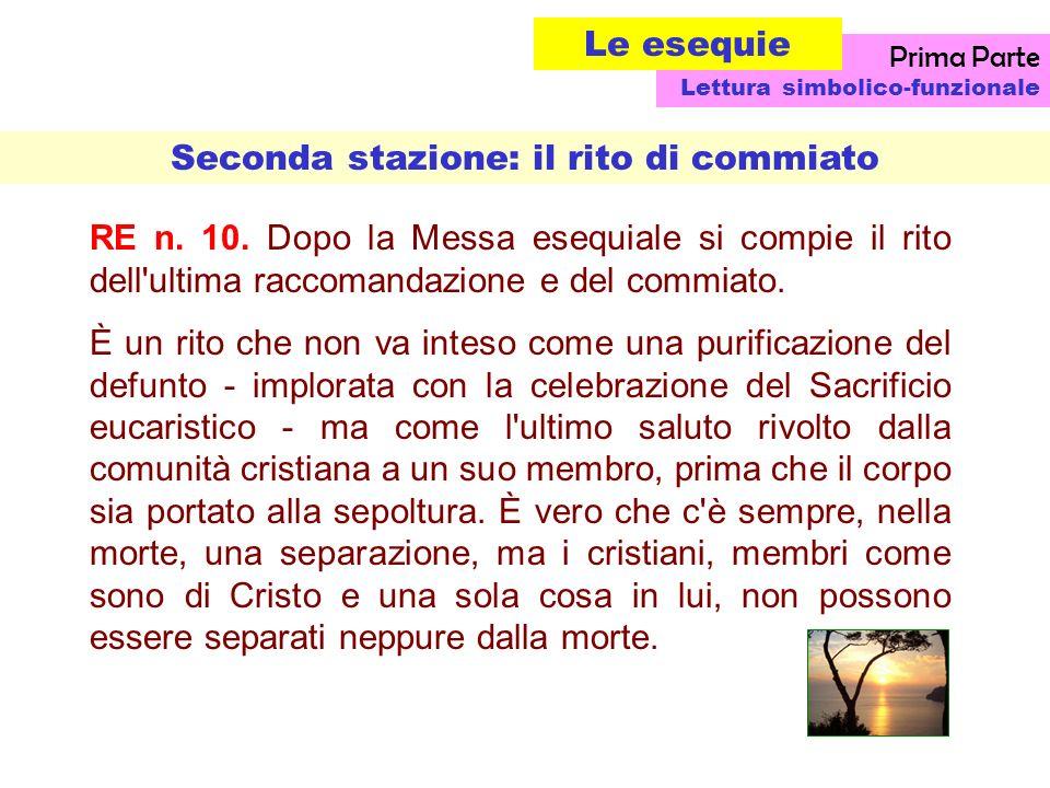 RE n.10. Dopo la Messa esequiale si compie il rito dell ultima raccomandazione e del commiato.