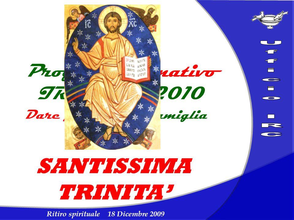 Ritiro spirituale 18 Dicembre 2009 Progetto formativo IRC 2009/2010 Dare forma alla famiglia degli IdR SANTISSIMA TRINITA
