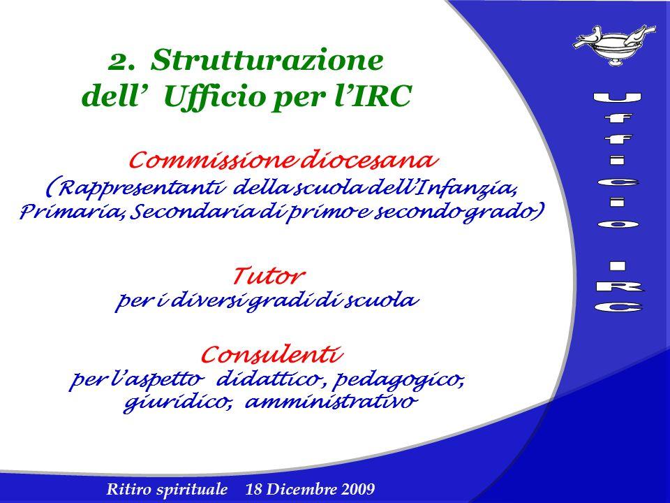 Ritiro spirituale 18 Dicembre 2009 2. Strutturazione dell Ufficio per lIRC Commissione diocesana ( Rappresentanti della scuola dellInfanzia, Primaria,