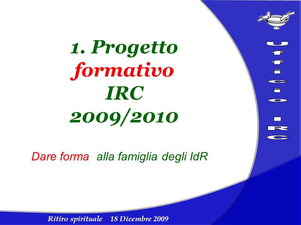 Ritiro spirituale 18 Dicembre 2009 1. Progetto formativo IRC 2009/2010 Dare forma alla famiglia degli IdR