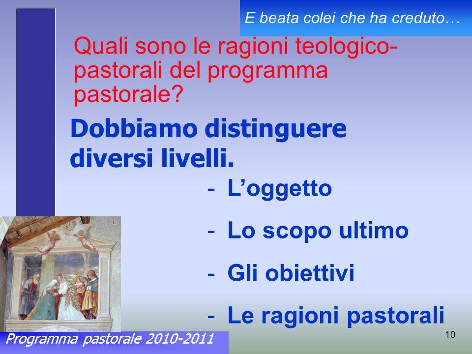 Programma pastorale 2010-2011 E beata colei che ha creduto… 10 Quali sono le ragioni teologico- pastorali del programma pastorale.