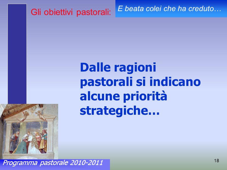 Programma pastorale 2010-2011 E beata colei che ha creduto… 18 Gli obiettivi pastorali: Dalle ragioni pastorali si indicano alcune priorità strategiche…