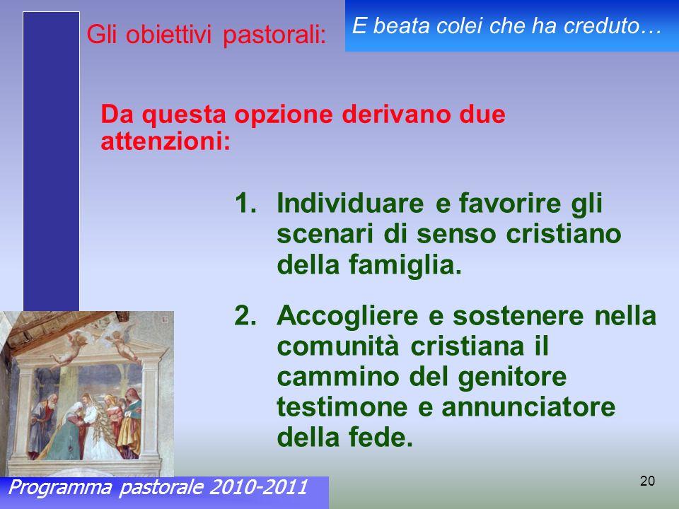 Programma pastorale 2010-2011 E beata colei che ha creduto… 20 Da questa opzione derivano due attenzioni: 1.Individuare e favorire gli scenari di senso cristiano della famiglia.