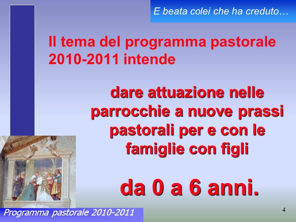 Programma pastorale 2010-2011 E beata colei che ha creduto… 4 Il tema del programma pastorale 2010-2011 intende dare attuazione nelle parrocchie a nuove prassi pastorali per e con le famiglie con figli da 0 a 6 anni.