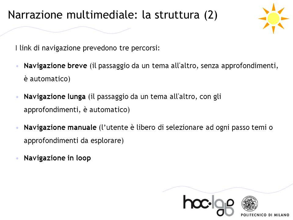 Narrazione multimediale: la struttura (2) I link di navigazione prevedono tre percorsi: Navigazione breve (il passaggio da un tema all'altro, senza ap