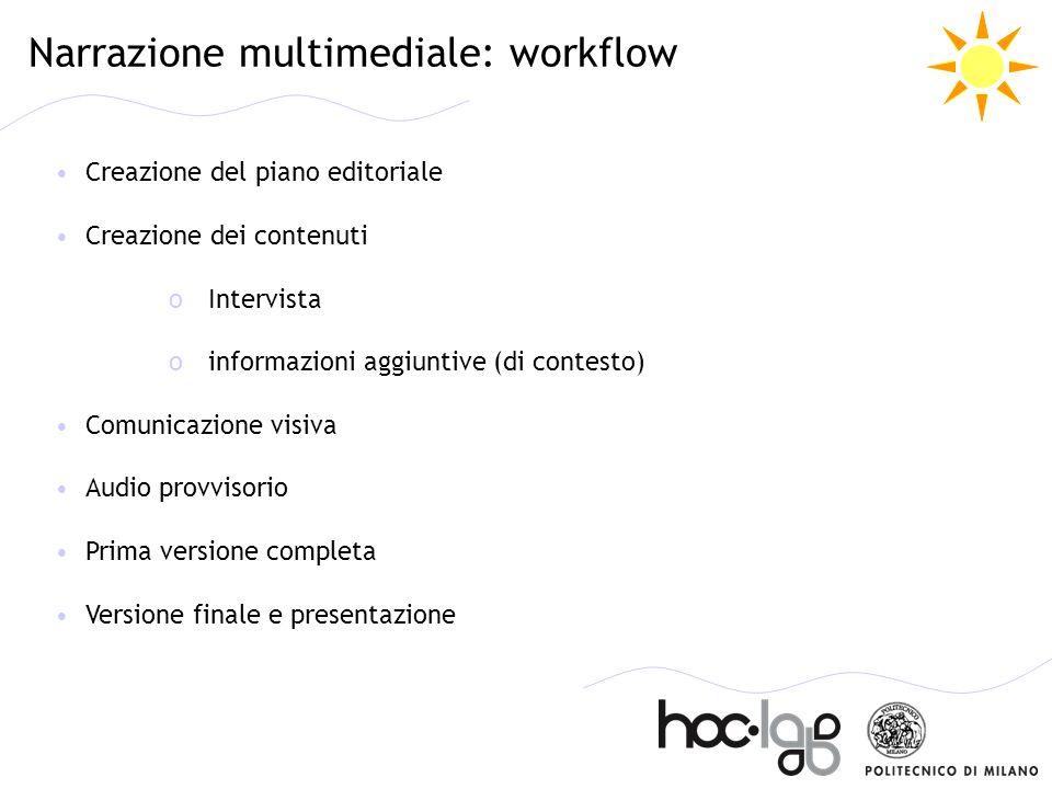 Narrazione multimediale: workflow Creazione del piano editoriale Creazione dei contenuti oIntervista oinformazioni aggiuntive (di contesto) Comunicazi