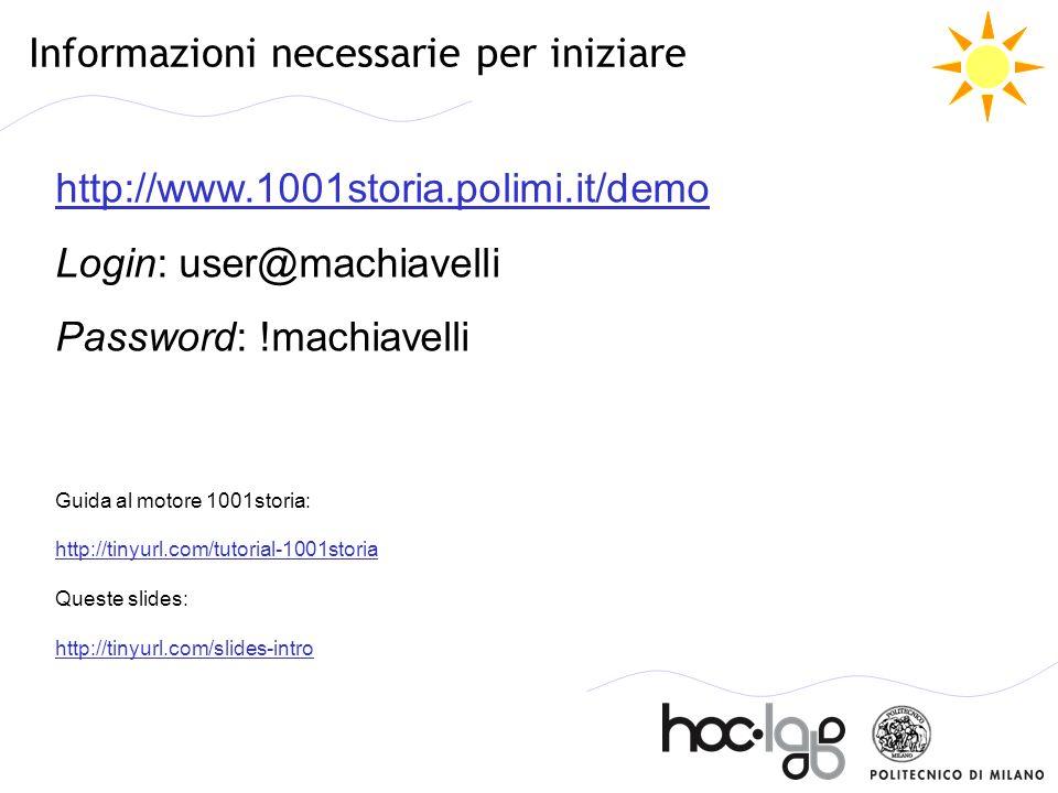 Informazioni necessarie per iniziare http://www.1001storia.polimi.it/demo http://www.1001storia.polimi.it/demo Login: user@machiavelli Password: !mach
