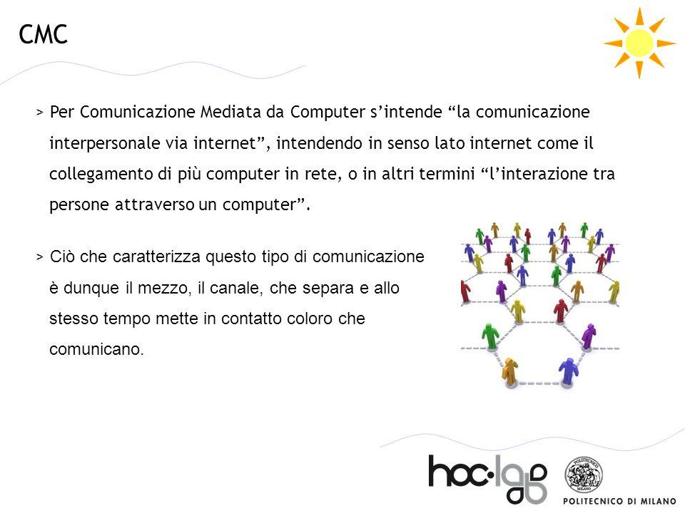 CMC > Per Comunicazione Mediata da Computer sintende la comunicazione interpersonale via internet, intendendo in senso lato internet come il collegame