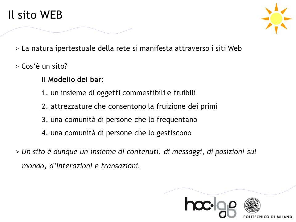 > La natura ipertestuale della rete si manifesta attraverso i siti Web > Cosè un sito? Il Modello del bar: 1. un insieme di oggetti commestibili e fru