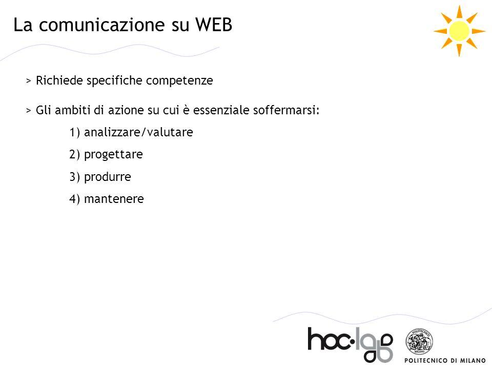 La comunicazione su WEB > Richiede specifiche competenze > Gli ambiti di azione su cui è essenziale soffermarsi: 1) analizzare/valutare 2) progettare