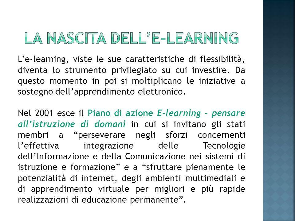 Le-learning, viste le sue caratteristiche di flessibilità, diventa lo strumento privilegiato su cui investire. Da questo momento in poi si moltiplican