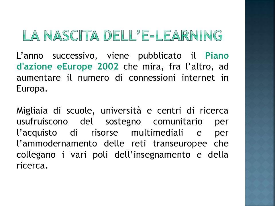 Sempre nello stesso anno viene lanciato il portale E-learning Europa per favorire il dialogo e lacooperazione e per promuovere l uso delle nuove tecnologie nel campo dell educazione permanente.