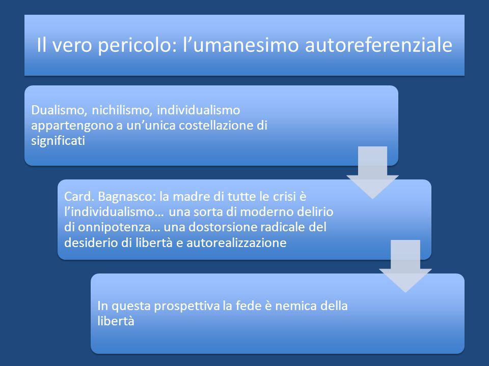 Il vero pericolo: lumanesimo autoreferenziale Dualismo, nichilismo, individualismo appartengono a ununica costellazione di significati Card. Bagnasco: