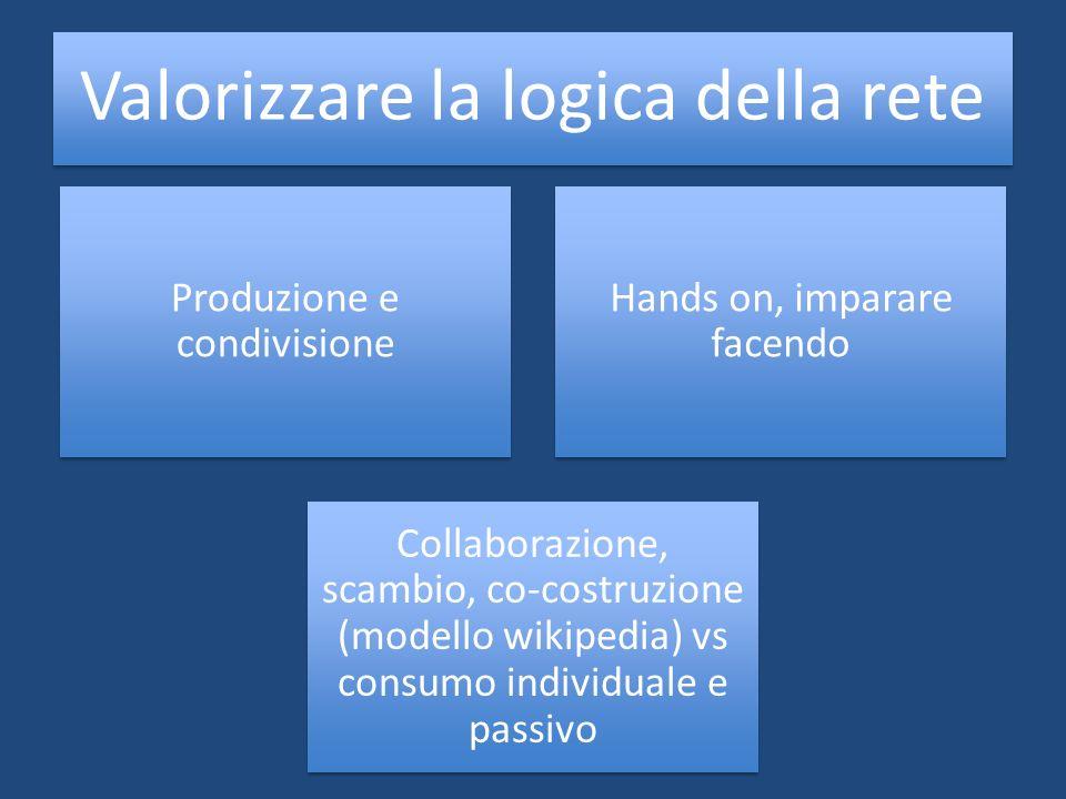 Valorizzare la logica della rete Produzione e condivisione Hands on, imparare facendo Collaborazione, scambio, co-costruzione (modello wikipedia) vs c
