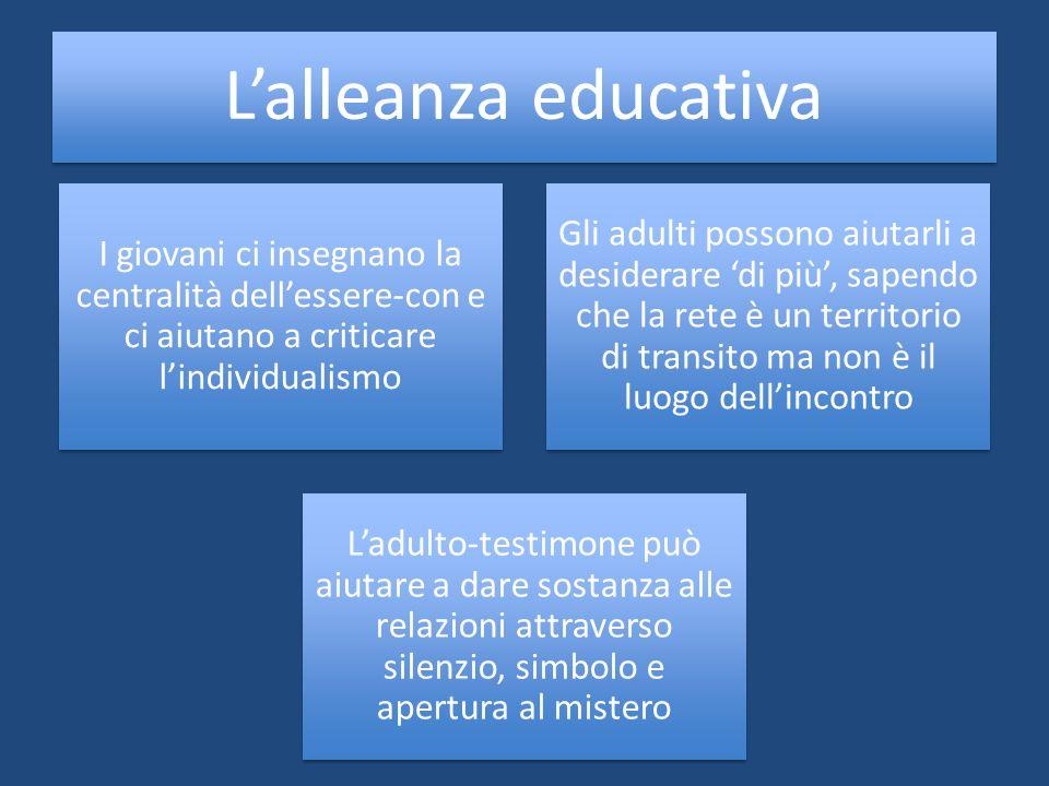 Lalleanza educativa I giovani ci insegnano la centralità dellessere-con e ci aiutano a criticare lindividualismo Gli adulti possono aiutarli a desider