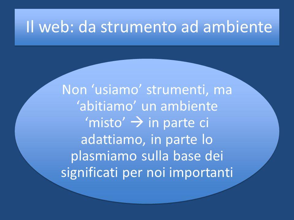 Il web: da strumento ad ambiente Non usiamo strumenti, ma abitiamo un ambiente misto in parte ci adattiamo, in parte lo plasmiamo sulla base dei signi