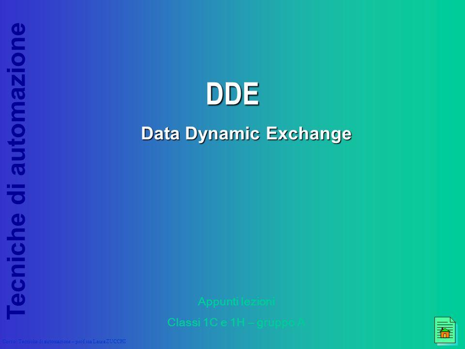 Tecniche di automazione Corso: Tecniche di automazione – prof.ssa Laura ZUCCHI DDE Data Dynamic Exchange Appunti lezioni Classi 1C e 1H – gruppo A