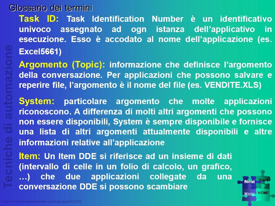 Tecniche di automazione Corso: Tecniche di automazione – prof.ssa Laura ZUCCHI Task ID: Task Identification Number è un identificativo univoco assegna
