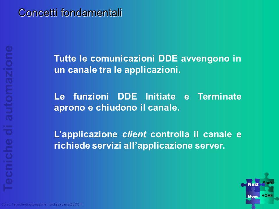 Tecniche di automazione Corso: Tecniche di automazione – prof.ssa Laura ZUCCHI Concetti fondamentali Tutte le comunicazioni DDE avvengono in un canale