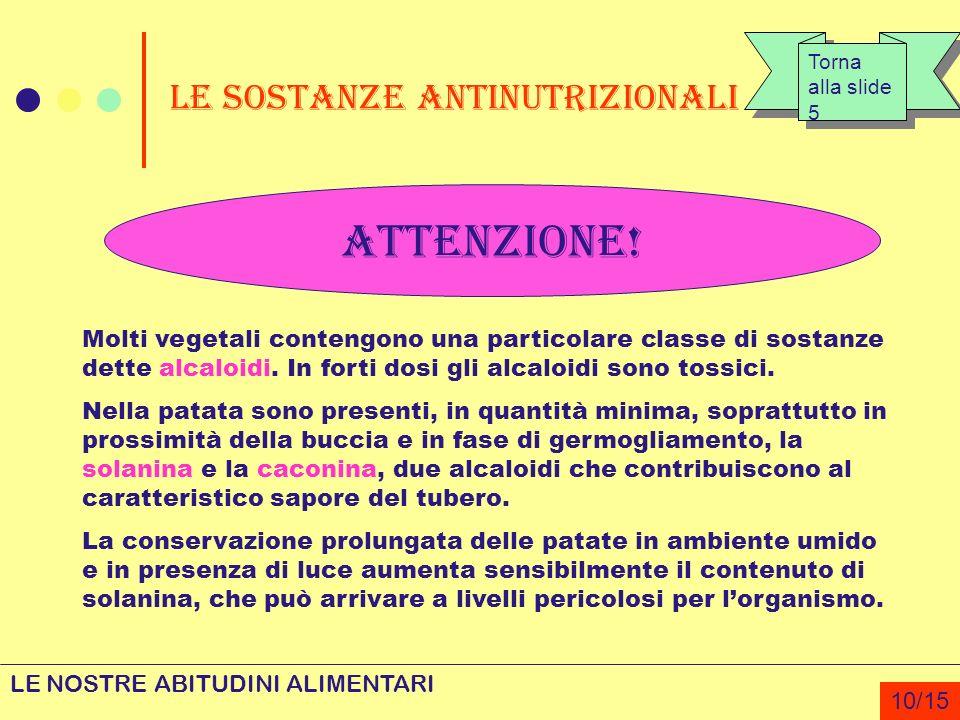 Le sostanze antinutrizionali ATTENZIONE! Molti vegetali contengono una particolare classe di sostanze dette alcaloidi. In forti dosi gli alcaloidi son