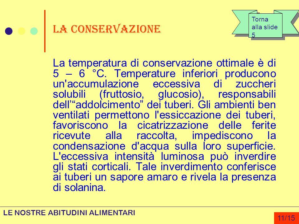 La conservazione La temperatura di conservazione ottimale è di 5 – 6 °C. Temperature inferiori producono un'accumulazione eccessiva di zuccheri solubi