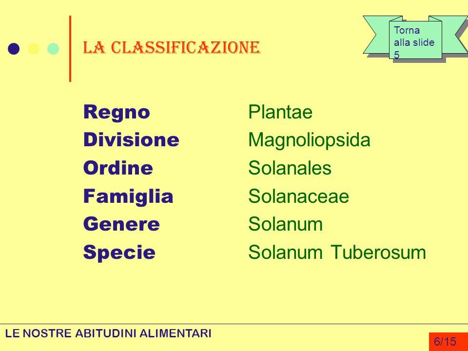 La classificazione Regno Plantae Divisione Magnoliopsida Ordine Solanales Famiglia Solanaceae Genere Solanum Specie Solanum Tuberosum LE NOSTRE ABITUD