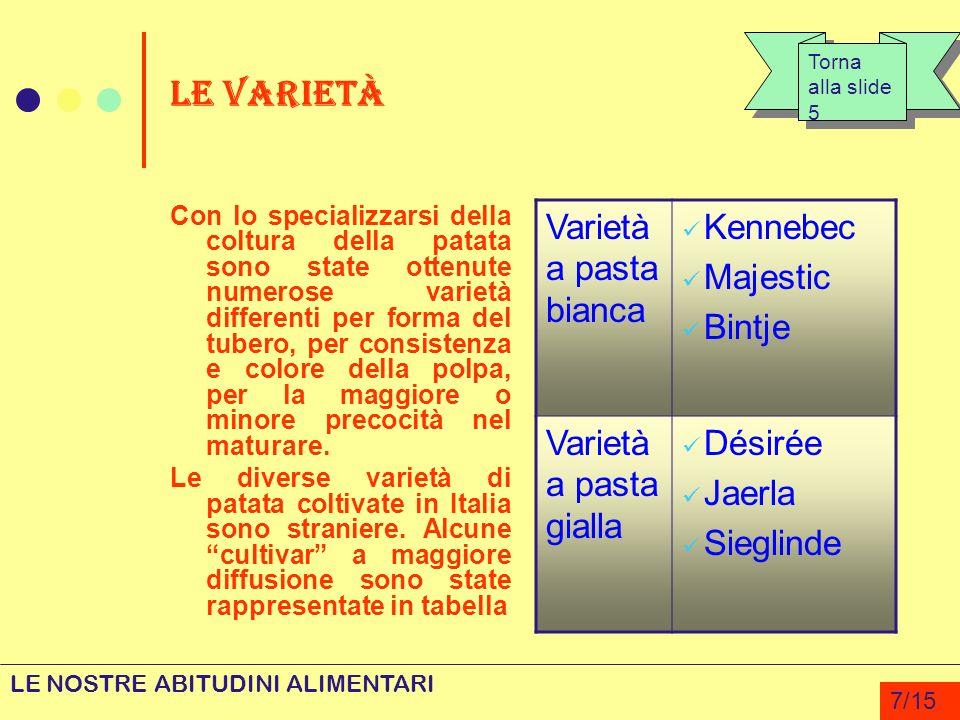 LE VARIETÀ Con lo specializzarsi della coltura della patata sono state ottenute numerose varietà differenti per forma del tubero, per consistenza e co