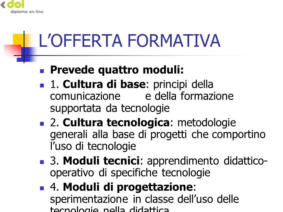 LOFFERTA FORMATIVA Prevede quattro moduli: 1.