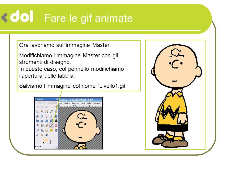 Fare le gif animate Ora lavoriamo sullimmagine Master: Modifichiamo limmagine Master con gli strumenti di disegno. In questo caso, col pennello modifi