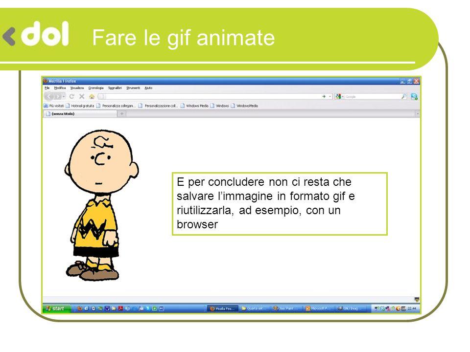 Fare le gif animate E per concludere non ci resta che salvare limmagine in formato gif e riutilizzarla, ad esempio, con un browser